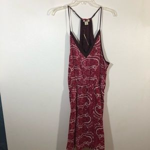 Lucky Brand Dresses - Lucky Brand Womens Red Pink Printed Spaghetti Stra